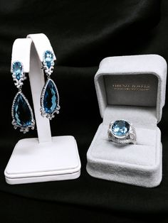 NEW: Diamond and Blue Topaz 18k white gold ring. Pairs beautifully with product #6765. #SomethingBlue