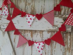 PARTY Banner Garland HEART  Decor  fabric flags Shabby Cottage style. $12.00, via Etsy.