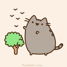 Pusheen Giant Cat Playing with Birds