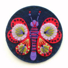 FELT BUTTERFLY BROOCH WITH FREEFORM EMBROIDERY by APPLIQUE-designedbyjane, via Flickr