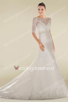 [$169.99] Delicate Embroidered Beaded A-line Sequined Lace Wedding Dress