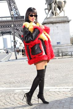 Parisian girl. Recent GRAMMY winner Rihanna has some fun in front of the Eiffel Tower on March 5 in Paris