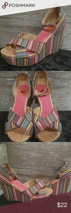 "Rockin' Rocket Dog multicolor platforms These are some amazing rockin' platforms for Spring  and Summer....a ""go to"" for skirts, dresses, pants, short and capris....they go will virtually everything...great shoe for trying to pack light for vacation! Rocket Dog Shoes Platforms"