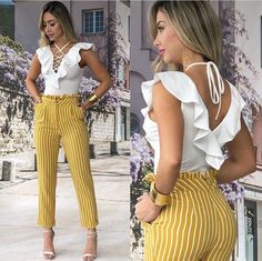 Yellow pants and white blouse Classy Outfits, Casual Outfits, Cute Outfits, Dress Outfits, Girl Outfits, Fashion Outfits, Dresses, Girl Fashion, Womens Fashion