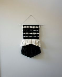 Hand Woven Wall Hanging / Textile Art : Black & White