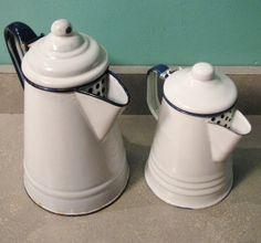 Pair of Vintage White Enamel Coffee Pots by PeddleCreek on Etsy, $31.00