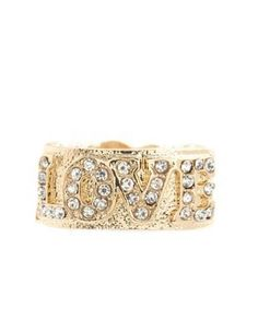 rhinestone love stretch ring