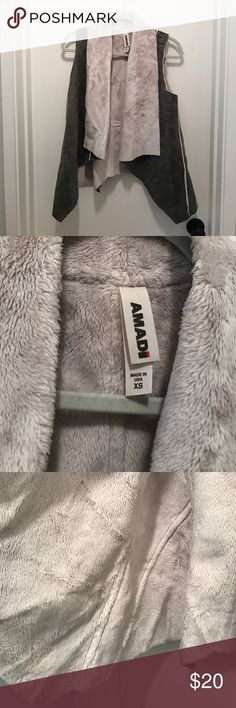 Anthropologie Fake Fur Vest Sz. XS Faux fur and grey denim vest. In excellent condition. Worn once or twice. Anthropologie Jackets & Coats Vests
