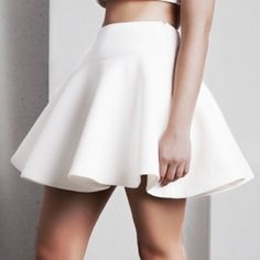 White skater skirt This beautiful clean white skater skirt is absolutely flattering and beautiful! If it wasn't too short for me I'd wear it everywhere! Body Central Skirts Circle & Skater