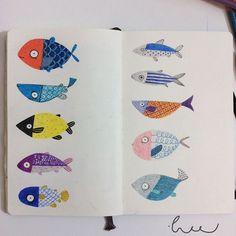 Fish fish #sketchbook #drawing #moleskine #fish #illustration #colorpencil #creativebug #makeartthatsells