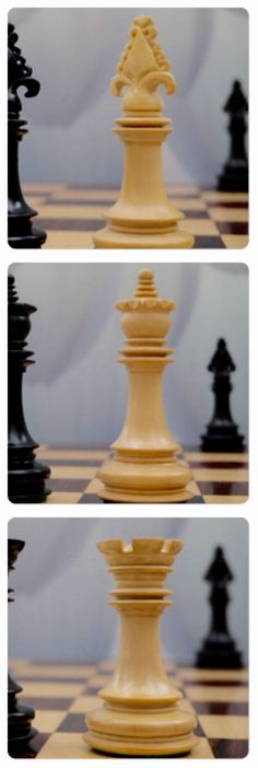 A beautiful twist on a classic Staunton design. This chess set pushes the Staunton boundary without crossing it. The Montreal chess set in ebony. X2076. Brought to you by ChessBaron.co.uk