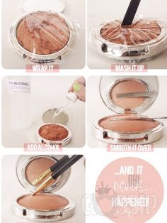 This is amazing! I like to use up all my left over powders, combine them and then I have a brand new, full size powder instead of a bunch of broken leftover ones. Just make sure you leave the compact open over-night and allow to dry.