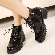 Lace-Up Patent Leather Cleated Ankl..