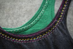 DIY embroidered t-shirt, Customize a tank or tee neck... simple blanket stitching, a few running lines.... plain to POW.