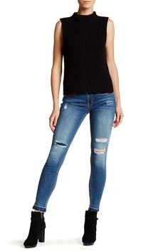 Mid Rise Distressed Skinny Jean
