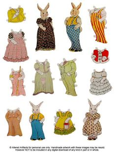 Free Easter Paper Bunny Doll printable.  Oh!  These look like the bunnies from The Country Bunny and the Gold Shoes!