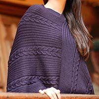 NOVICA Alpaca blend poncho, 'Double Plum Braids' by NOVICA. $78.99. Braids add texture to a smooth jersey knit marching in pairs across this versatile wrap. Alfredo Falcon creates a poncho for all seasons. Working in a luxurious alpaca wool blend he borders the warm cloak with lavish fringe.