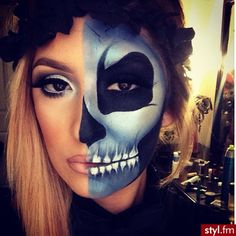 43 Cool Skeleton Makeup Ideas to Try for Halloween Scary Makeup, Skull Makeup, Fx Makeup, Halloween Face Makeup, Demon Makeup, Halloween Looks, Happy Halloween, Halloween Costumes, Halloween Skeletons