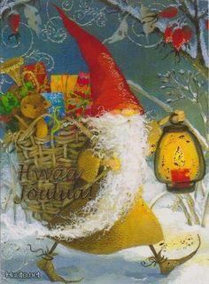 Rumy Luider, Christmas postcard 10 x Latvia Magical Christmas, Merry Christmas And Happy New Year, Father Christmas, Christmas Art, Xmas, Winter Illustration, Christmas Illustration, Winter Art, Winter Holidays