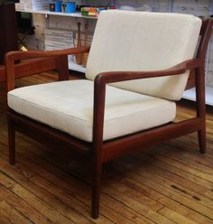 Cool Danish Modern Teak Swivel Tub Chair Atomic Era Styling Star