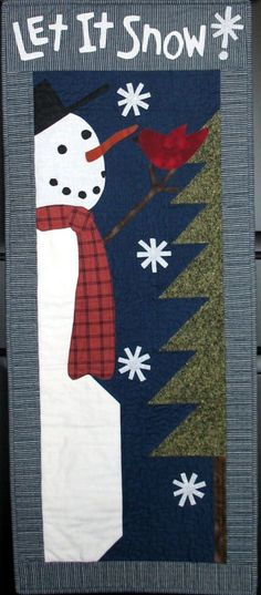 snowman appl wallhanging