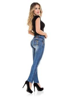 Women Colombian Butt Lifting Jeans High Waistband Jegging Push Up Jean Cysm Dark