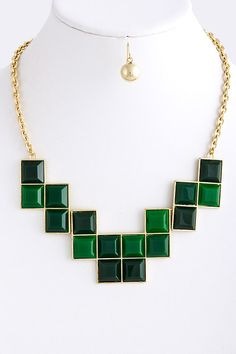 Structured Block Necklace Earring Set