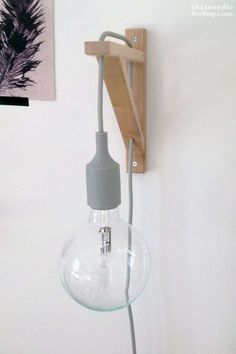 20 Easy DIY Lamp Ideas for Creative Home Decor on a Budget - Brilliant IKEA hack DIY lamp from a shelf bracket 14 Ways to Decorate Your House for Free: Bedroom Lamps, Diy Bedroom Decor, Diy Home Decor, Master Bedroom, Bedroom Apartment, Apartment Ideas, Bedroom Ideas, Budget Bedroom, Apartment Interior