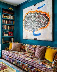 bold blue library and den space by tilton fenwick // via coco kelley