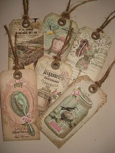 6 Vintage/shabby chic tags & twine ideal for wedding favours, card toppers etc | eBay
