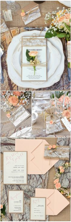 Pastel peach rustic wedding #wedding #weddingideas #peach #pastel #handmade #unique #lace #floral #flowers