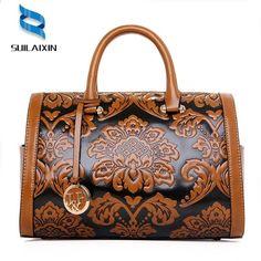 a20f7610a6 ženy designer kůže hobo boston kabelka Velké vyšívání embossing tisk retro  květinové kabelky luxusní tote taška