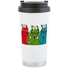 Black cats NURSE BEST Stainless Steel Travel Mug - Stainless Steel Travel Mug, Nurse Gift Insulated 16 oz. Coffee Tumbler