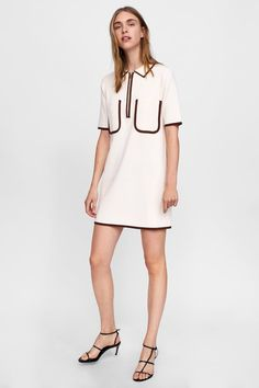 Polo dress with contrasting piping in 2020 Polo Dress Outfit, Dress Outfits, Fashion Outfits, Fashion Clothes, Dressy Dresses, Short Sleeve Dresses, Camisa Polo, Frack, Diy Dress