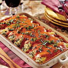 Chicken Cannelloni with Roasted Red Bell Pepper Sauce - Italian Pasta Casserole Recipes - Southern Living