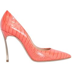 CASADEI 100mm Blade Croc Printed Patent Pumps (2.920 RON) ❤ liked on Polyvore featuring shoes, pumps, orange, patent leather pointy toe pumps, crocs shoes, patent pointed toe pumps, orange high heel pumps and patent leather shoes