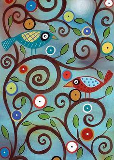 Branch Birds Greeting Card