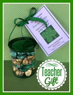 patrick's day teacher gift with printable. from marci co Teacher Treats, School Treats, School Gifts, School Fun, Teacher Gifts, School Parties, School Stuff, St Paddys Day, St Patricks Day