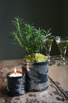 Sequin-covered can with rosemary plant