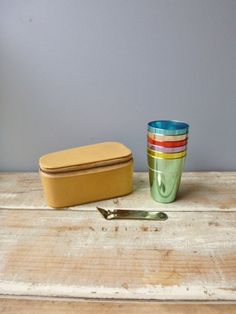 Aluminum coloured cups x 6 in zip up case with bottle opener vintage