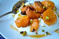 Cardomom roasted persimmons with vanilla yogurt.... T-minus 6 months to persimmons!