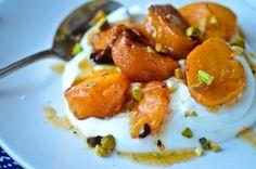 Cardamom roasted persimmons with vanilla yogurt | Food | Pinterest ...