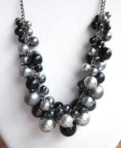Pearl Cluster Necklace in Shades of Gray by CreationsbyCynthia1, $42.50