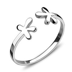 J&k joyería de moda flor de amor anillos ajustables para la niña, genuino 925 pura plata de ley con anillos de oro blanco ...