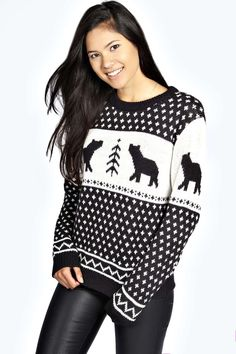 Boohoo Penny Polar Bear Jumper - blue - £20 on Vein - getvein.com