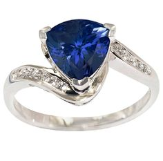 925 Sterling Silver Ring Natural Tanzanite 8mm Faceted Cut Trillion with Beautiful White Topaz Round - Natural Tanznaite Ring