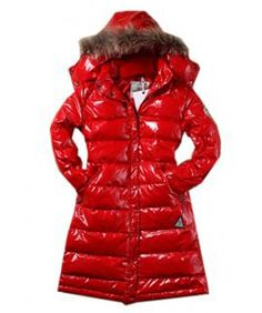 57514756d4a7 moncler coats on sale - Moncler Classic Windproof Hooded Women Coat Long  Sleeve Red Cheap Coats