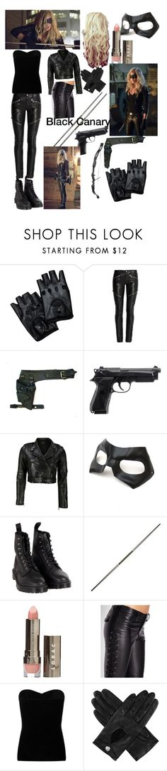 """""""Black Canary (arrow) (Sara Lance) inspired outfit"""" by arrowkatmellarkpearl ❤ liked on Polyvore featuring Yves Saint Laurent, VIPARO, Masquerade, Dr. Martens, LORAC, Forever 21, Lipsy and Dents"""