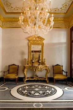 #chandelier #gold  millwork, ceiling and marble floor. FABULOUS