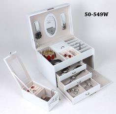 Všetko pre modernú domácnosť | homedesignsk.sk - Luxusná kožená šperkovnica s minikufríkom biela